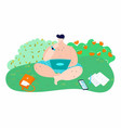 bodypositive man on nature in summer dressed in vector image