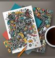 cartoon doodles auto corporate identity set vector image vector image