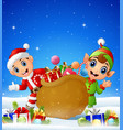 cartoon kid and elf in the winter background with vector image vector image