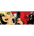 Cartoon man and woman with guns vector image vector image