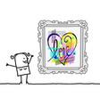 cartoon woman watching a pop art style heart vector image vector image