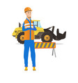 confident caucasian builder with arms crossed vector image vector image
