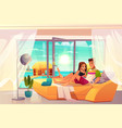 couple on vacation in tropics cartoon vector image vector image