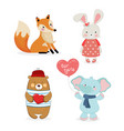 cute fox rabbit bear elephant boys and girls vector image vector image
