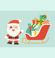 cute santa claus with pile gift boxes vector image