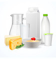 dairy products realistic composition vector image