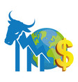 financial wall street bull world money vector image vector image