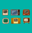 first retro televisions set vintage tube brown vector image