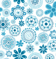Floral seamless with doodle blue flowers vector image vector image