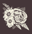 flowers rose and chamomile with leafs old vector image vector image