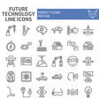 future technology line icon set innovation vector image vector image