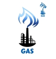 Gas production plant silhouette with blue flame vector image vector image