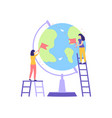 girl mark location globe pin checkbox flat vector image