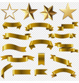 golden ribbons and stars set transparent vector image
