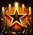golden star with blank banner vector image