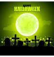 Green moon and graveyard Halloween background vector image vector image