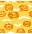 Halloween seamless texture with pumpkin and bats vector image