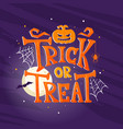 hand drawn halloween trick or treat background vector image