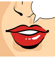 hand drawn pop art of beautiful red woman lips vector image vector image