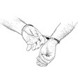 handcuffs on hands vector image vector image