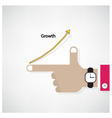 Hands of businessman with graph increase sign vector image