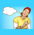 hipster tattooed guy showing rock and roll sign vector image