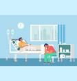hospital room sick patient lying in bed vector image