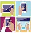 Human hands holding digital devices icons set vector image