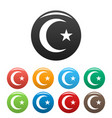 islamic crescent moon icons set vector image