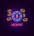 jackpot neon label vector image