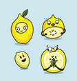 lemon characters cartoon set cute vector image