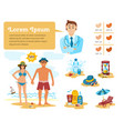 Man and woman sunbathing infographics couple