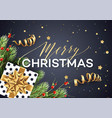merry christmas greeting card template vector image