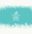 merry christmassnow forest pines in winter vector image