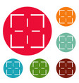mission icons circle set vector image