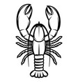 monochrome with lobster for design vector image