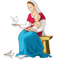 mother mary holding baby jesus cartoon vector image vector image