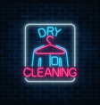 neon dry cleaners glowing sign with hanger and vector image vector image