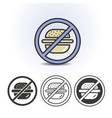 no fast food flat icon vector image vector image