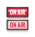 on air studio light sign media broadcasting vector image vector image