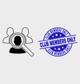 outline search people icon and grunge club vector image vector image