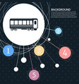 passenger wagons train icon with the background vector image