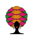 portrait african woman silhouette afro curly hair vector image vector image