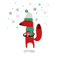 red fox holding a snowflake vector image vector image