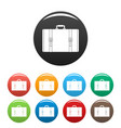 retro suitcase icons set color vector image