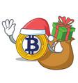 santa with gift bitcoin gold character cartoon vector image vector image