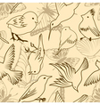 seamless bird and butterfly pattern vector image