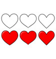 set different shapes heart vector image