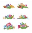 set flower vignettes vector image