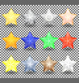 set of christmas realistic stars of different vector image